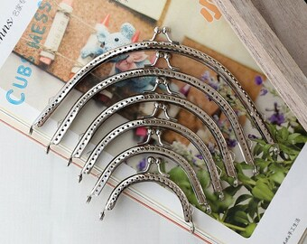 10 PCS, Various Size Curved Solid Simple Silver Kiss Clasp Lock Purse Frame