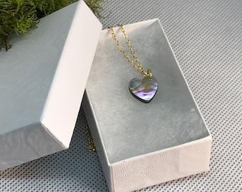 abalone heart necklace mini pendant
