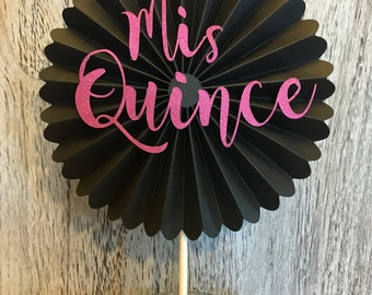 Mis Quince Cake Topper - Centerpiece -  Quinceanera - 15th Birthday - Hot Pink and Black Rosette - Cake Decorations -  Mis Quince -Assembled