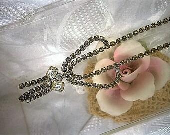 Jahrgang klar Straßkette Choker, Silber und Strass Halsband, Braut Halskette Hochzeit Schmuck, baumeln Halskette