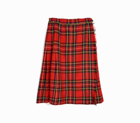 Vintage 50s 60s Red Plaid Wool Skirt / Tartan Plaid Skirt / Red Plaid Kilt / Fringed Wrap Skirt - women's xs