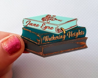 PRE-ORDER Jane Eyre and Wuthering Heights inspired acrylic book brooch