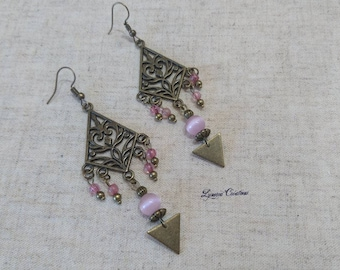 Ethnic earrings in bronze with Pearl Pink cat's eye, carved triangles, creating unique women birthday gift idea