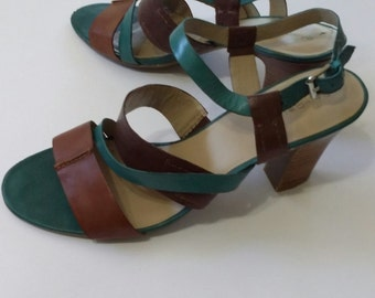 Bandolino shoes, platform sandals, womens shoes 9.5, womens sandals 9, womens shoes 9, vintage shoes 9.5