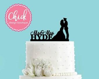 Custom Military Themed Bride and Groom Cake Topper, Wedding Cake Topper