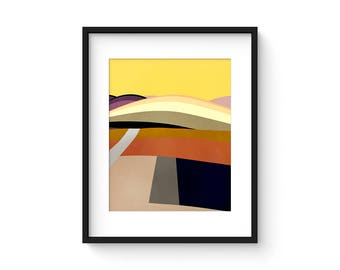 FOOTHILLS no.61 - Mid Century Style Modernist Abstract Landscape Print