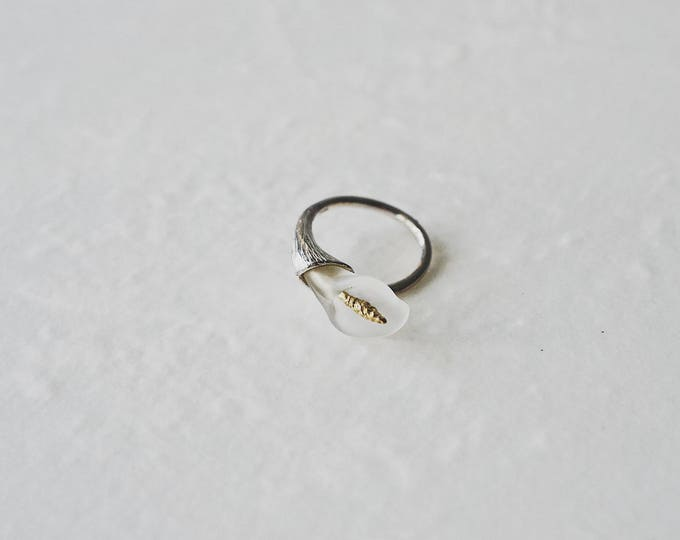 Common callalily, 925 silver, crystal open ring