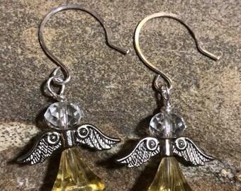 Angel earrings on handmade Sterling silver round ear wires.