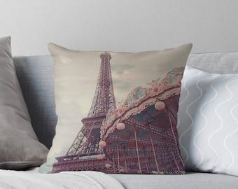 Paris throw pillow, Paris, Pastel home decor, Eiffel Tower, Carousel, nursery
