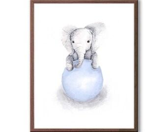 Baby Boy Nursery Decor, Elephant Nursery Art, Gray and Blue Nursery Decor, Kids Wall Art, Elephant Wall Art, Baby Boy Gift, E318N
