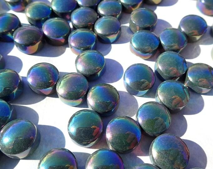 Dark Green Iridescent Glass Drops Mosaic Tiles - 100 grams Vase Fillers Home Decor - Flat Back Marbles Glass Gems