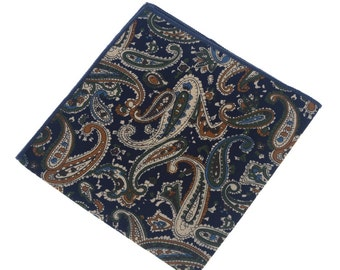 Pocket Square.Paisley Hankies with Dark Blue Base.Handkerchief for Wedding.Pocket Square Set.