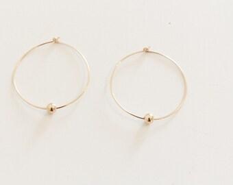 Gold Bead Hoop Earrings / Gold Hoop