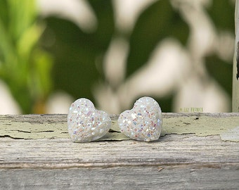 White Glitter Heart Earrings, Faux Druzy Studs Choose Titanium or Stainless Steel, 12mm