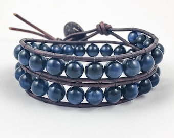 Blue Tiger's Eye Wrap Bracelet | Wrap Bracelets | Leather Wrap Bracelet | Crystals Bracelet | Reiki Healing | Crystal Healing Bracelet
