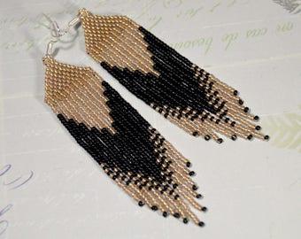 Beaded earrings, native earrings,  Long fringe earrings, Boho style, Native American style