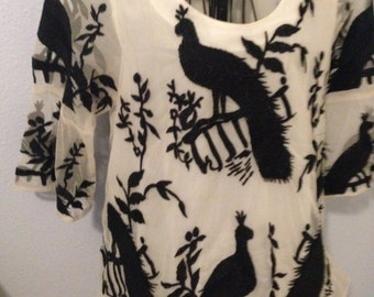 Black and White Embroidered Peacock Formal Blouse