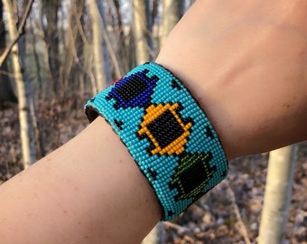 Beaded Cuff Bracelet - Adjustable Sizing - Native American Beadwork - Glass Beads - Sage Blessed