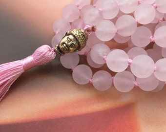 Mala Necklace, Rose Quartz Necklace, Rose Quartz Mala, 108 beads, Mala Tassel, Pink Necklace, Hand Knotted Necklace, Knotted Mala