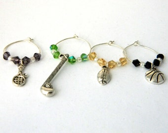 Sports Wine Charms Set of Four