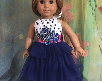 American Girl Navy Polka Dot Ruffle Maxi Dress
