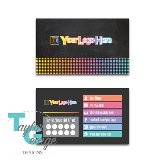 Direct sales business card template punch card business direct sales business card template punch card business punch card reward card chalkboard dots rainbow accmission Image collections