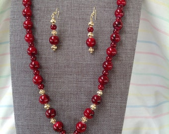 Cranberry and Gold Necklace and Earrings