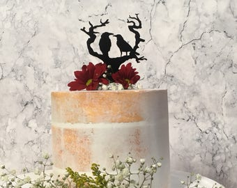 Raven Cake Topper, Gothic Wedding Cake Topper, Crow Cake Topper, Nevermore Cake Topper, Bird Wedding Topper, Love Birds