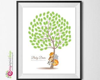 Unique Safari Jungle Animal Tree - Fingerprint - Baby Shower or Birthday - DIY Printable (Digital File)