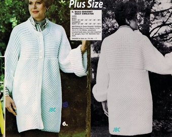 Plus Size Sweater Coat Pattern Bias Slimming Long Cardigan Crochet Pattern Car Coat SC115 PDF
