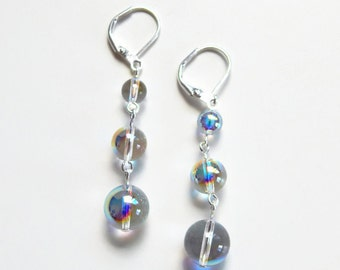 Rainbow iridescent bubble earrings made with Swarovski Crystals - crystal drop earrings - clear ab earrings - iridescent earrings
