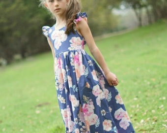 Floral Dress Girls, Floral Dress Toddler, Floral Dress Baby, Flower Girl Dress, Girl Maxi Dress, Fancy Dress for Girls, Floor Length Dress