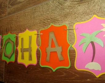 Aloha Luau Party banner Aloha Banner with Palm trees Pink Green Orange, Yellow