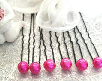 Hair pins, wedding hair accessory hair bride Pearl Fuchsia 8 mm