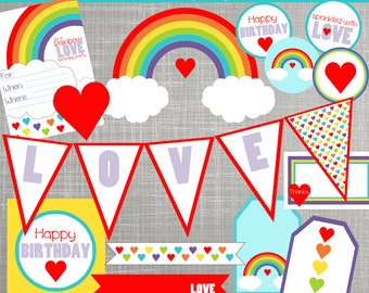 Rainbow Birthday Party Decorations - Rainbow Baby Shower Decorations - PRINTABLE/ DIY - Rainbow Love Collection