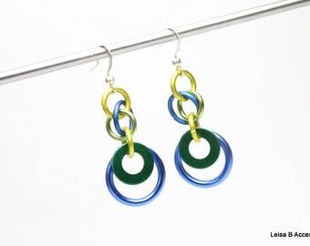 Unique Hoop Earrings, Colorful Earrings, Aluminum Earrings, Green Earrings, Blue Earrings,  CE21