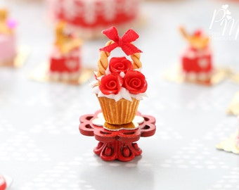 "MTO-Valentines ""Showstopper"" Cupcake - Triple Red Rose - Miniature Food in 12th Scale for Dollhouse"