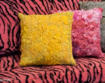 Bright Yellow Grey Sheepskin Pillow