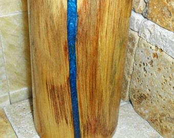 wood log pen or pencil holder. Turned wood solid log with iridescent blue epoxy resin inlay, natural wood office desk decor, inlaid wood