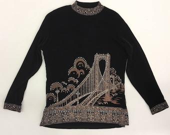 Vintage Black Slinky Turtleneck Shirt Polo Neck short collar- Embellished sequin golden gate bridge nineties 90s top long sleeve