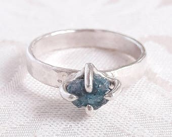 Rough Blue Diamond Engagement Ring - Ready to Ship - Raw Diamond Rings  - Gift Idea - Blue Diamond Ring - Uncut Diamond Ring - Conflict Free