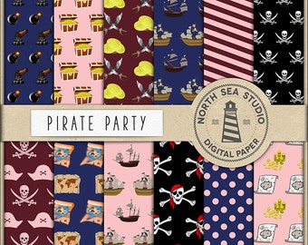 PIRATE PLANET, Digital Paper, Pirate Party Paper, Kids Party Papers, Pirate Ship, Skull, Map, Treasuries, Commercial Use, BUY5FOR8