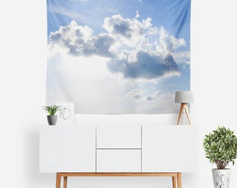 Spring Clouds Tapestry | Cloud Tapestry | Nature Wall Decor | Fluffy Clouds | Boho Tapestries | Nature Photography | Blue Sky | Sunshine