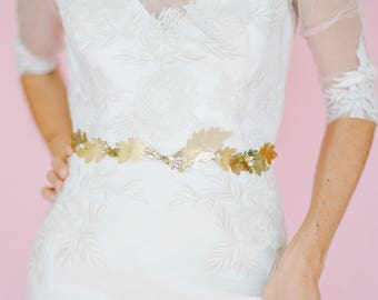 """Delicate and bold gold leaf wedding belt with crystals and blush """"Parker"""""""