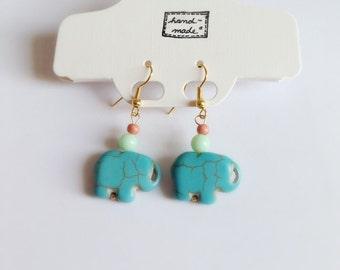 Gold Elephant Earrings, Turquoise Gold Elephant Earrings, Goodluck Earrings, Dangle Earrings, Turquoise Howlite Earrings, Bohemian Jewlery