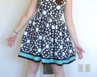 Retro polka dot A-line dress with back zip