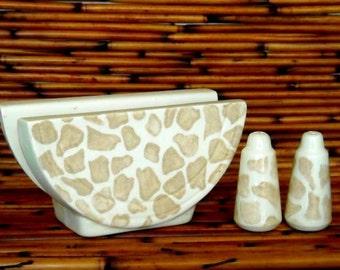 1 Napkin Holder and Salt and Pepper Shaker Set Handmade White Earthenware Giraffe Pattern Ceramics