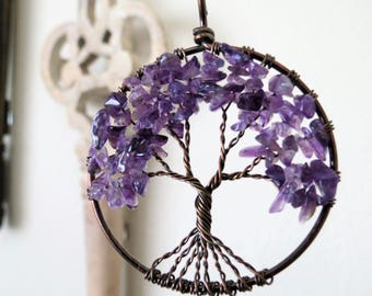 Gift for Wife February Birthstone Amethyst Tree of Life Necklace Gemstone Tree Wire Tree Necklace Wire Wrapped Jewelry Family Tree Purple