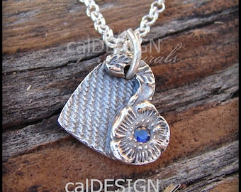 Artisan Made Denim & Floral Necklace, Sterling Silver Heart Pendant w Blue Sapphire CZ - Mother's Day, Anniversary, Valentine's Day