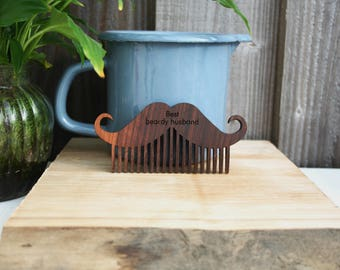 Beard Comb, Custom beard comb, personalised beard comb, gift for men, Walnut wood moustache comb, Father's Day gift, hipster grooming gift